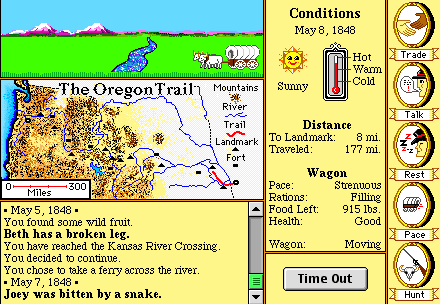 "screenshot from oregon trail for mac. It says ""You have found some wild fruit"", ""Beth has a broken leg"", and ""Joey was bitten by a snake"""