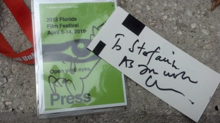 "Cary Writes ""As You Wish"" on my Ticket and Press Badge"