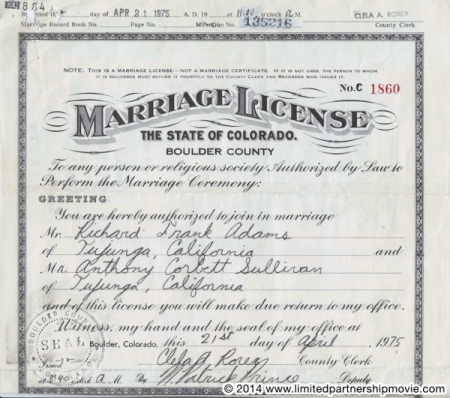 On of the First Legal Gay Marriage License in the U.S.--In 1975!